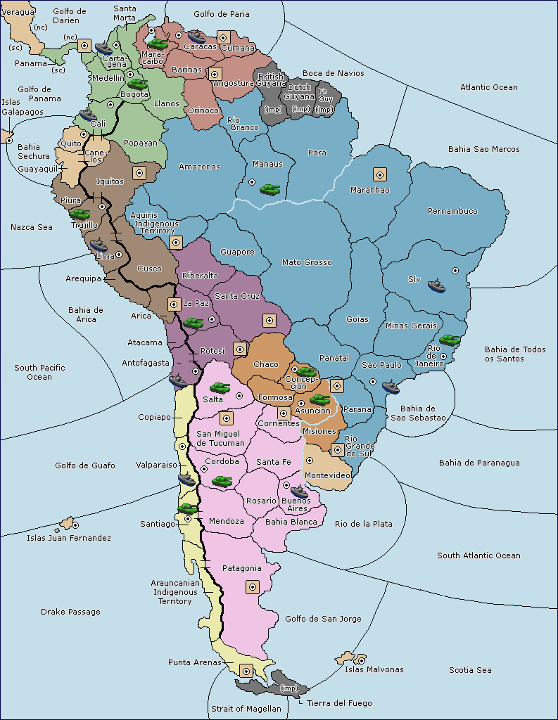 Variants VDiplomacy - Parana river map